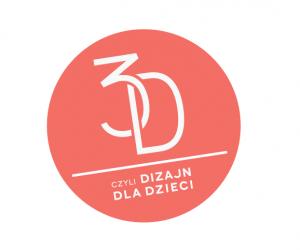 logotyp projektu: wczerwonym kółku napis 3D czyli dizajn dla dzieci